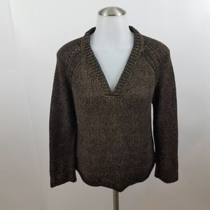 Worth sweater womens S brown gold metallic cut out